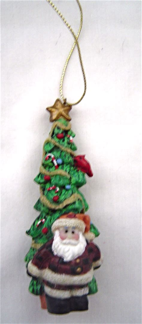 santa with tall christmas tree ornament ornaments
