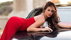 Red western dress wears hot girl with car hd wallpapers rocks