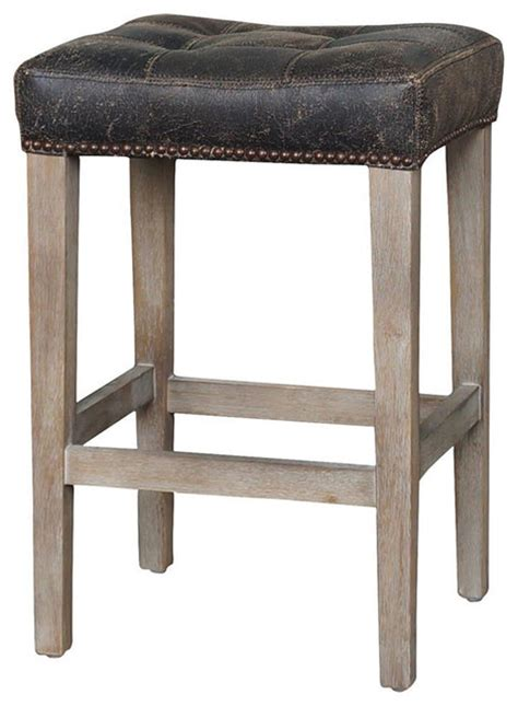 Distressed Leather Bar Stools by Shop Houzz Kathy Kuo Home Milton Distressed Black