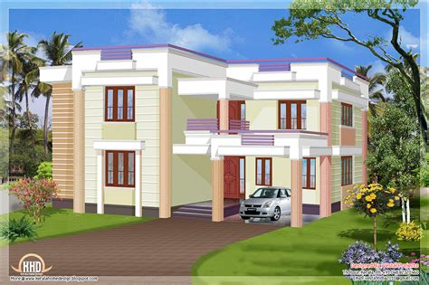 flat roof luxury home design kerala floor plans building simple flat roof designs modern house