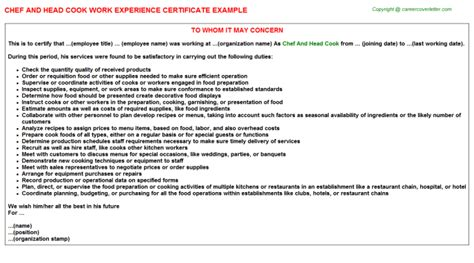 Work Experience Letter Of Chef chef and cook work experience certificate letter