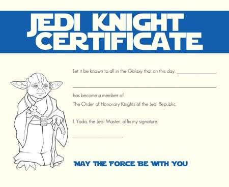 wars jedi certificate template free wars jedi certificates galactic