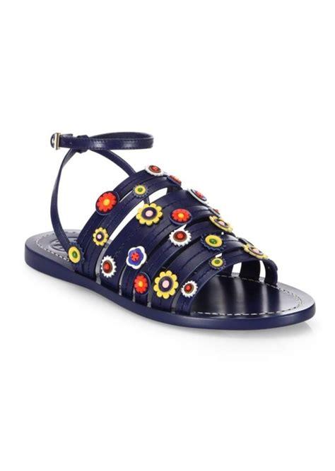 Burch Flat Floral burch burch marguerite floral leather flat ankle sandals shoes shop it to me