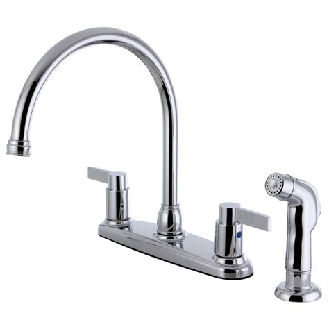 kingston brass double handle centerset kitchen faucet with