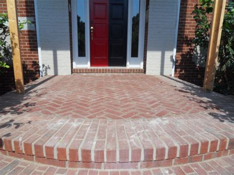 Brick Porch Floor by A Front Porch Renovation With Columns And A Herringbone