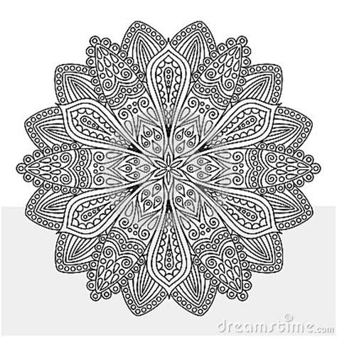 intricate flower coloring page stock vector image