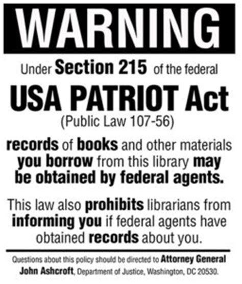 usa patriot act section 215 baseless hysteria american libraries magazine