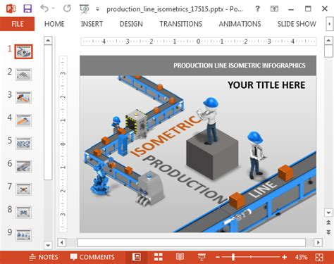 animation layout template production line isometric powerpoint template
