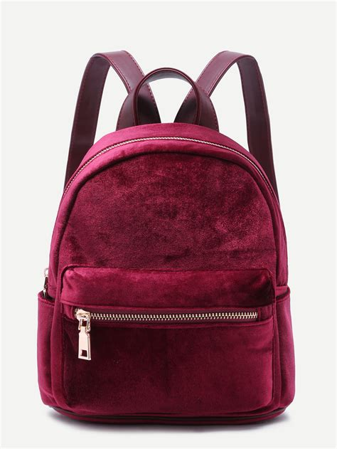 Velvet Mini Backpack mini metallic zip velvet backpack burgundy makemechic