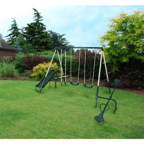 garden slide and swing garden multi person swing slide seesaw set kids outdoor