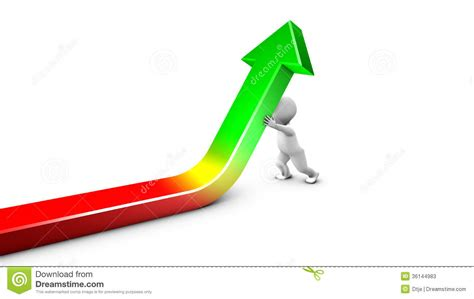 Up The a character straightens up the curve stock illustration