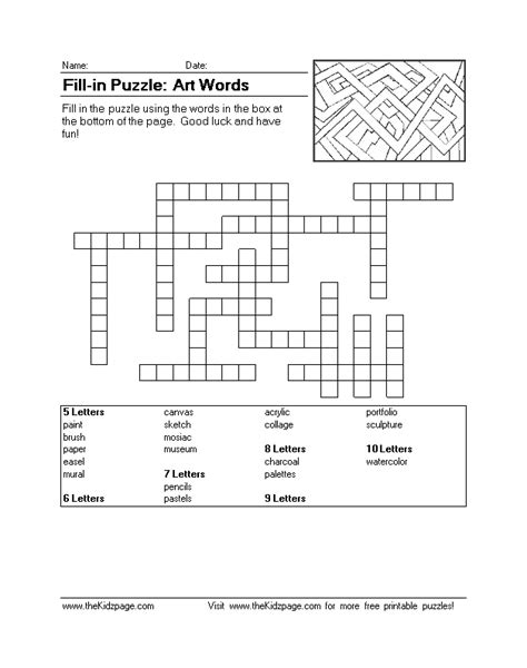 printable art crossword puzzles free printable word fill puzzles