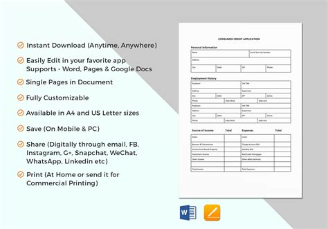 consumer credit application form template consumer credit application credit application templates