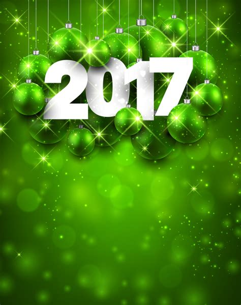 new year green green styles 2017 new year shining background vector