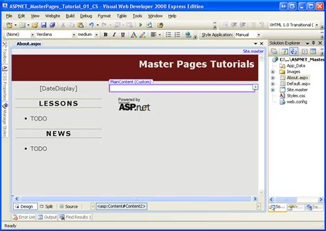 creating a site wide layout using master pages c the