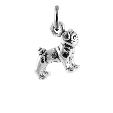 sterling silver pug charm sterling silver small bulldog charm thecharmworks
