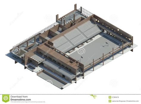 Cad Floor Plans Free Download axonometric view of the sport hall royalty free stock