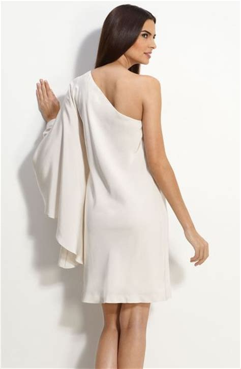 One Shoulder Drape Sleeve Dress miller drape sleeve one shoulder dress in white ivory lyst