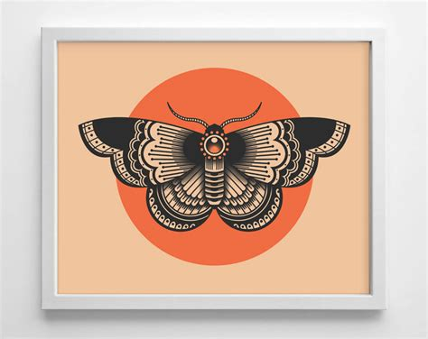tattoo rw printer moth tattoo design minimialistic college dorm room indie