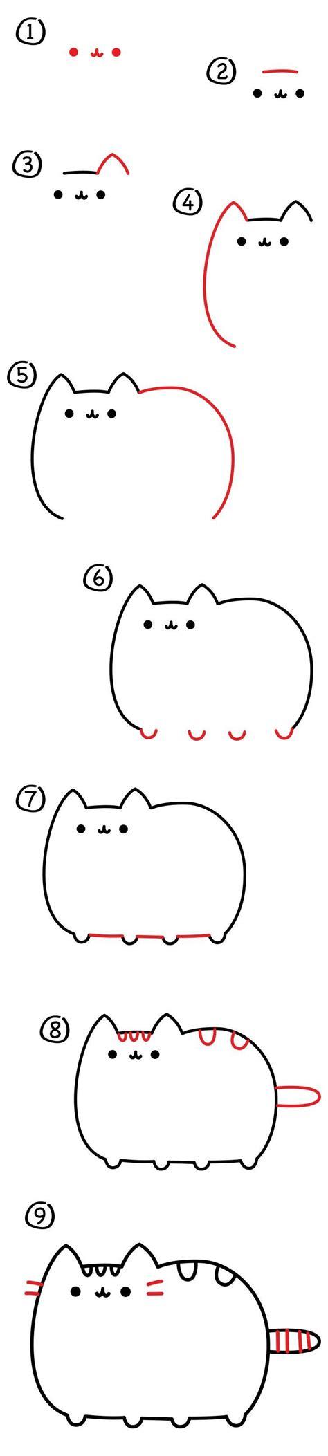 how to draw doodle cat 1 que kawaii paso a paso dibujos pusheen