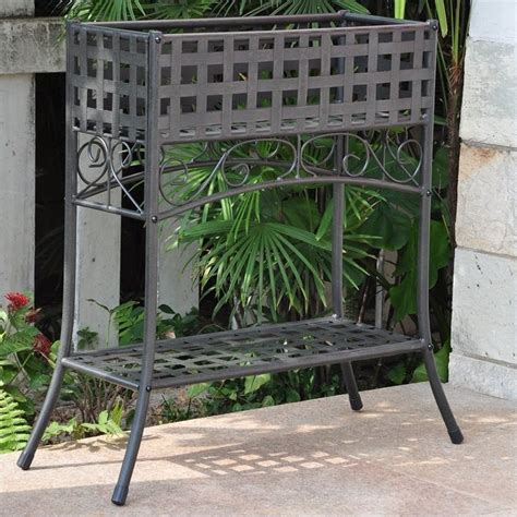 Plant Rack Outdoor by Mandalay Iron Rectangular Outdoor Plant Stand 3466