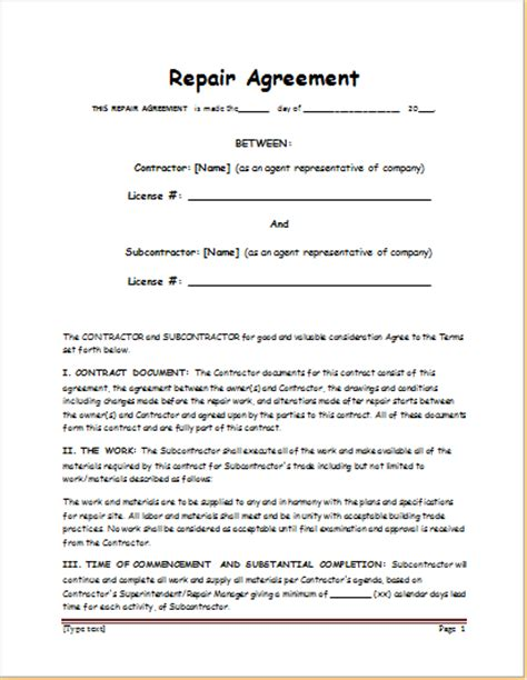 General Repair Agreements Sle Template Document Templates Repair Contract Template