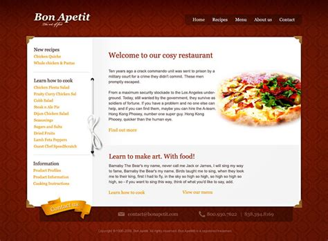 restaurant profile template 10 beautiful restaurant cafe website templates