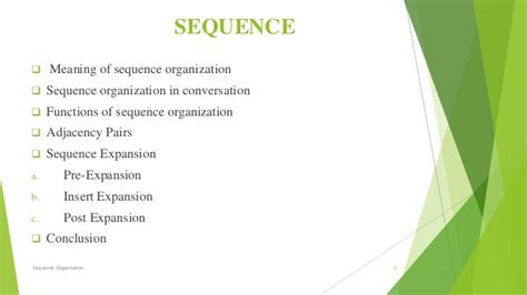pattern sequence meaning sequence organization in conversation analysis