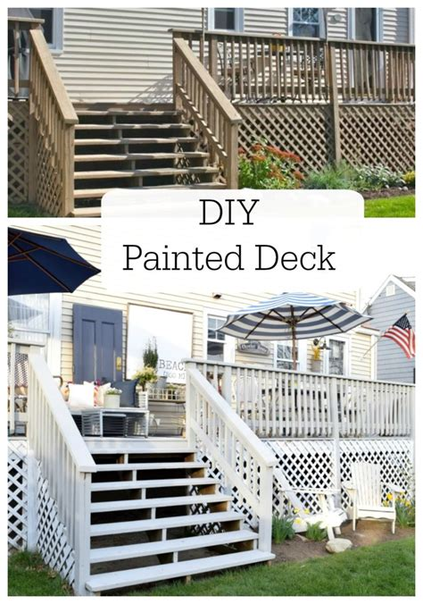 diy painted deck  decor nesting  grace