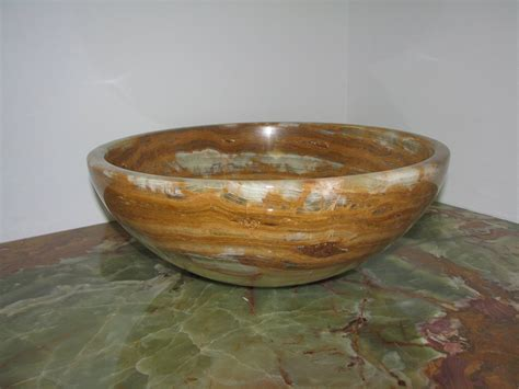14 Quot Green Onyx Contemporary Round Vessel Style Bathroom