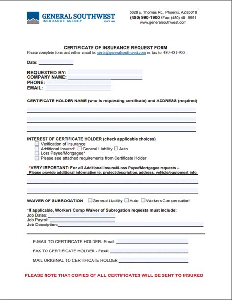 Certificate Of Insurance Letter Request Request For Certificate General Southwest Insurance Agency Inc