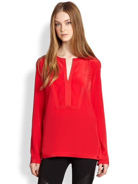 red blouses for women bcbgmaxazria silk blouse in red lyst