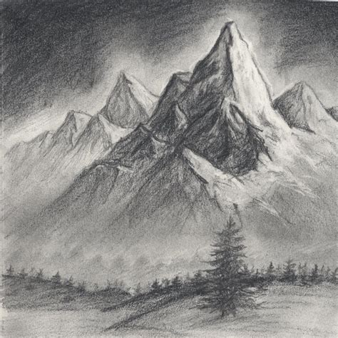 mountain scene drawing related keywords suggestions