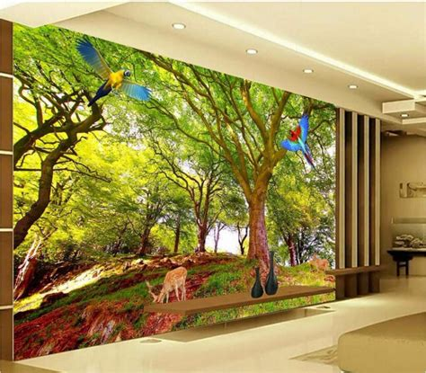 custom murals custom mural picture 3d room wallpaper tree parrot elk