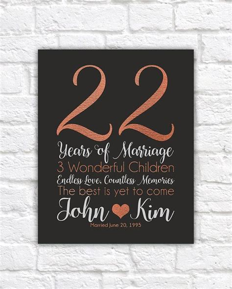 Personalized Anniversary Gifts, 22 Years, Copper
