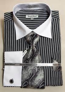 Theme of the day black dress shirt with white collar and cuffs