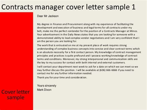 Contract Letter Director Contracts Manager Cover Letter
