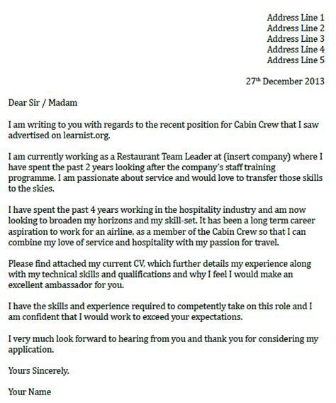 cabin crew cover letter sle flight attendant cover letter template