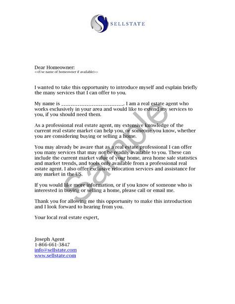 Introduction Letter In Real Estate real estate letters of introduction introduction letter