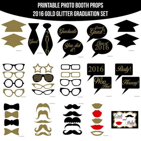 printable photo booth props luau graduation end of instant download 2016 gold glitter from amandakprintables