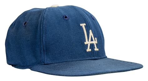 lot detail   game  los angeles dodgers hat cap attributed  sandy koufax mears