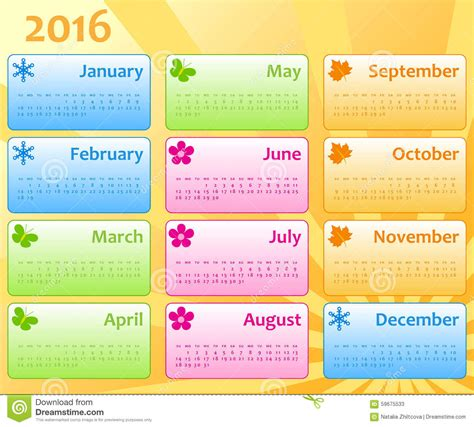 what is the color of 2016 calendar color template 2016 stock vector illustration