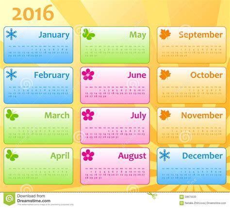 Calendario Colo Calendar Color Template 2016 Stock Vector Image 59675533