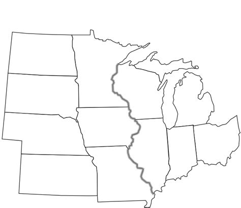 blank midwest states map file usa midwest notext svg wikimedia commons