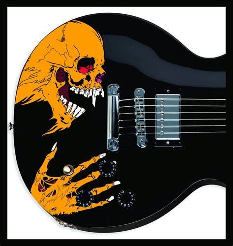 printable guitar stickers pushead style custom skull sticker decal skin for electric