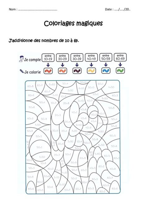 Additionner Des Nombres De 0 224 69 Cp Ce1 Coloriage