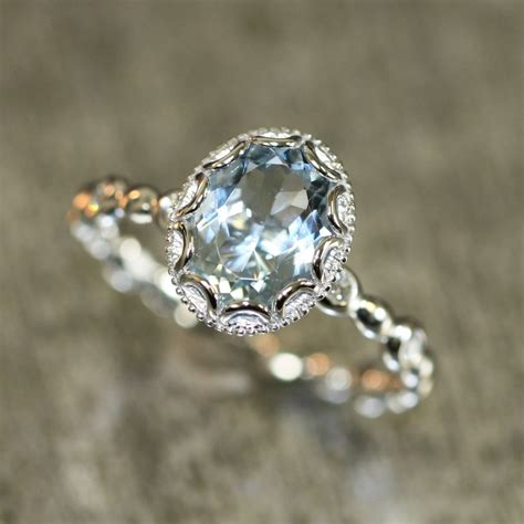 9 Beautiful Wedding Bands by Floral Aquamarine Engagement Ring In 14k White Gold Pebble