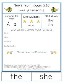 kindergarten weekly news letter template melanie