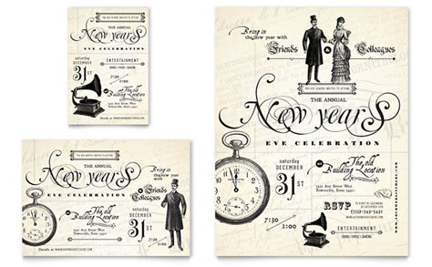 brochure template vintage vintage new year s party flyer ad template design