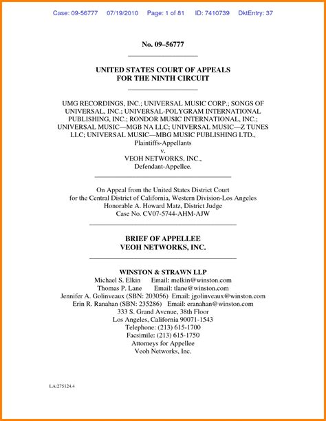 appellate brief template sle appellate brief world of exles